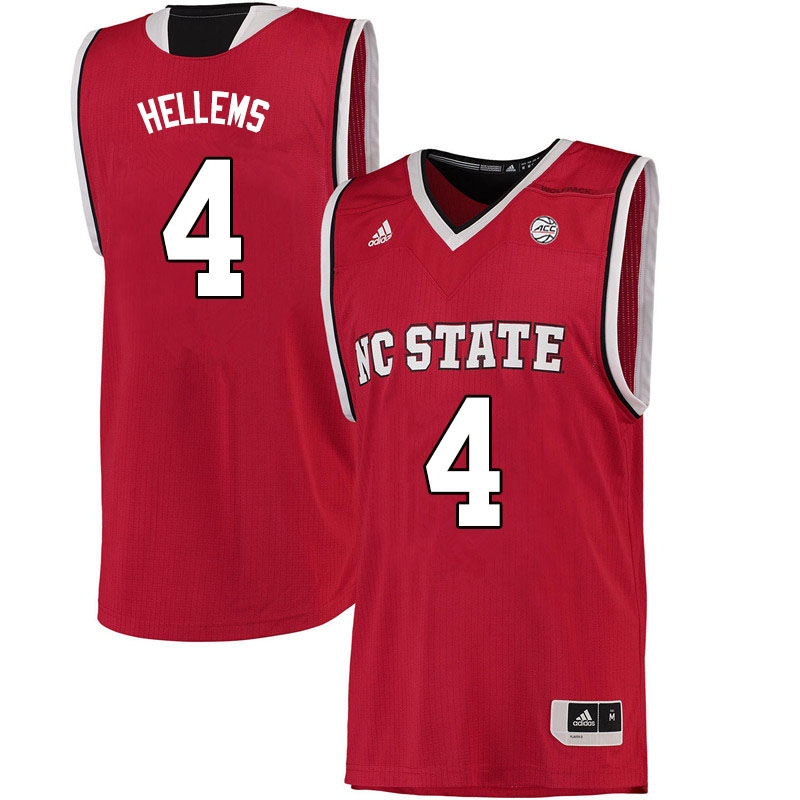 Men #4 Jericole Hellems NC State Wolfpack College Basketball Jerseys Sale-Red