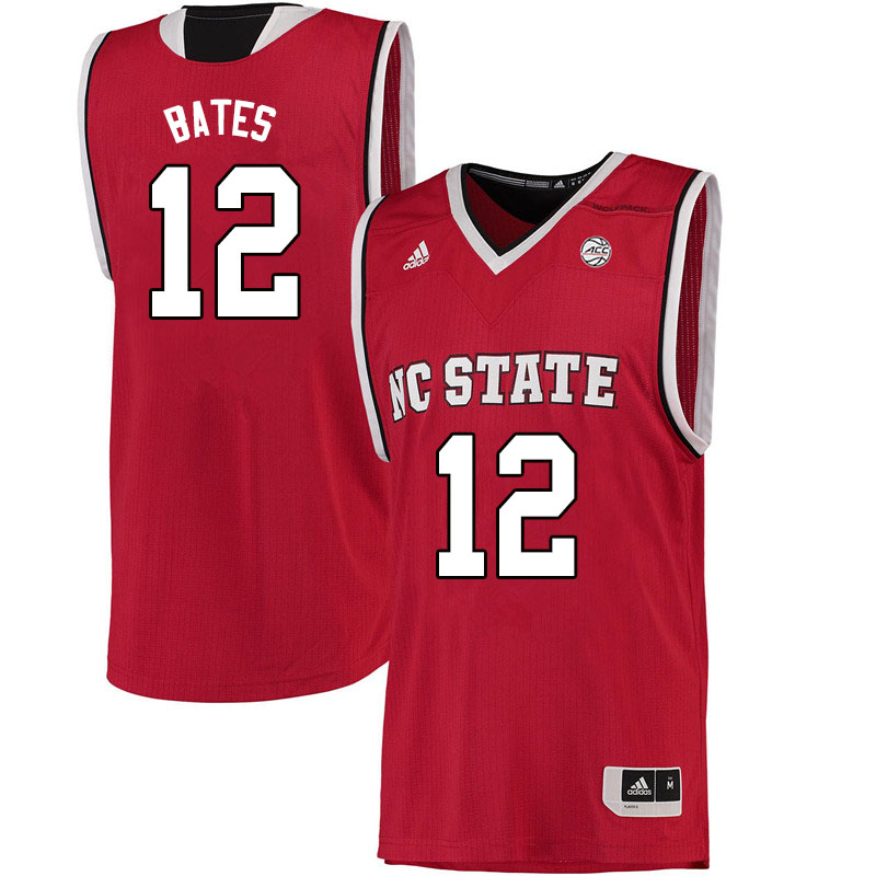 Men #12 Manny Bates NC State Wolfpack College Basketball Jerseys Sale-Red