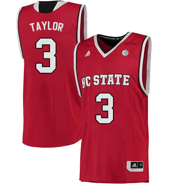 Men #3 Atticus Taylor NC State Wolfpack College Basketball Jerseys Sale-Red