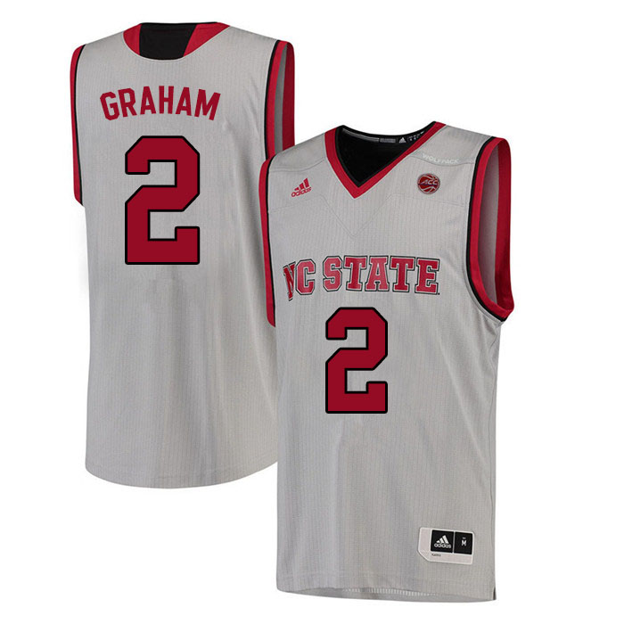 Men #2 Chase Graham NC State Wolfpack College Basketball Jerseys Sale-White