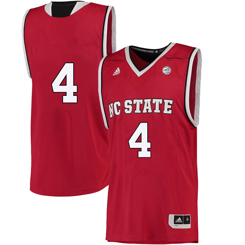 Men #4 Ashley Williams NC State Wolfpack College Basketball Jerseys-Red
