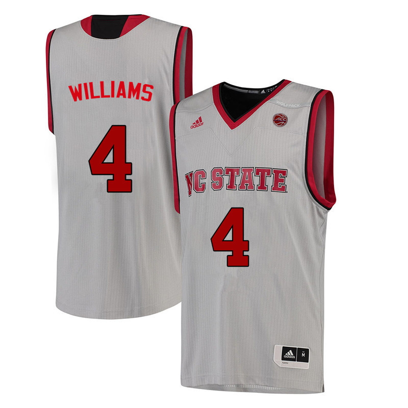 Men NC State Wolfpack #4 Ashley Williams College Basketball Jerseys-White