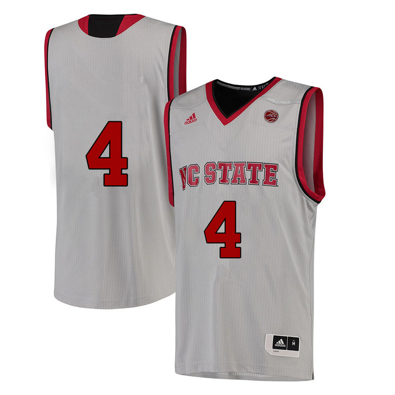 Men #4 Ashley Williams NC State Wolfpack College Basketball Jerseys-White