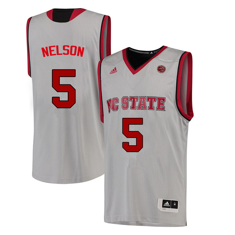 Men NC State Wolfpack #5 Chelsea Nelson College Basketball Jerseys-White