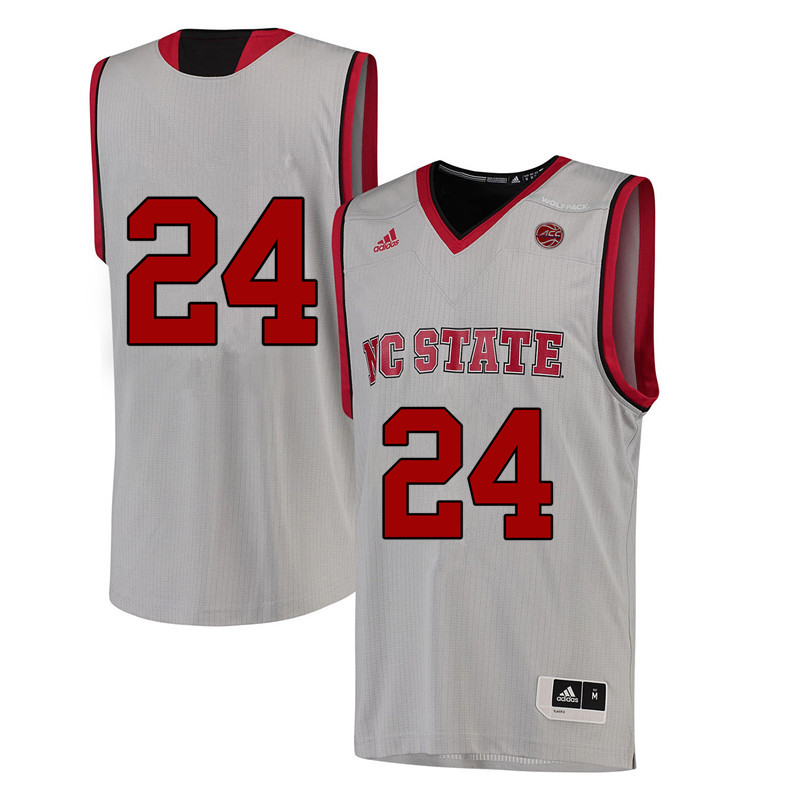 Men #24 John Richter NC State Wolfpack College Basketball Jerseys-White