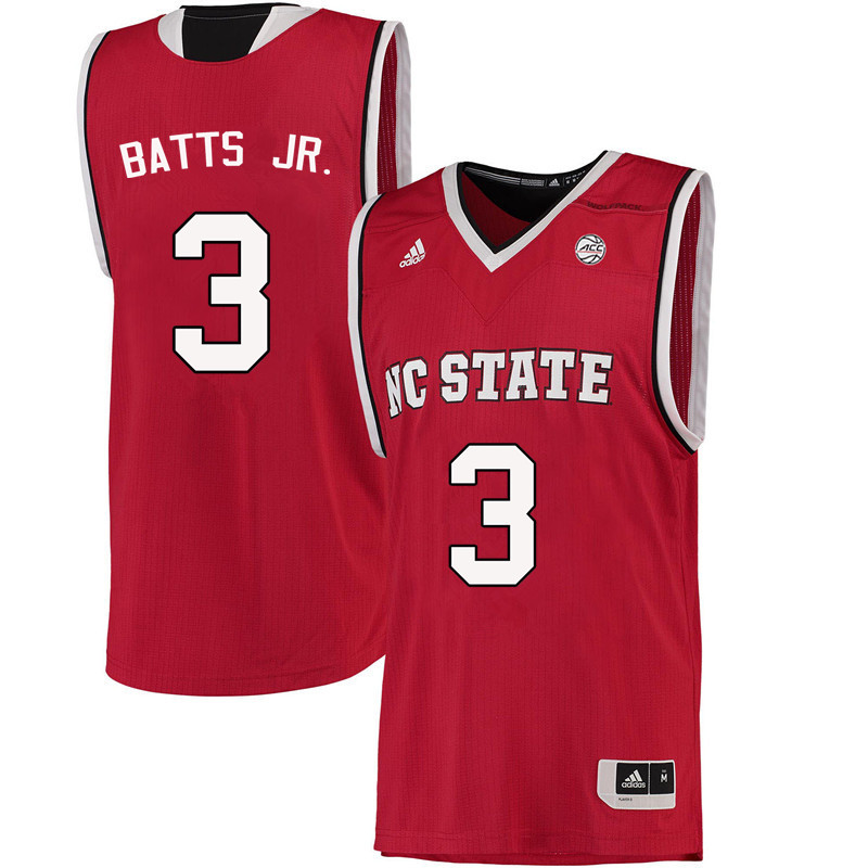 Men NC State Wolfpack #3 Lavar Batts Jr. College Basketball Jerseys-Red