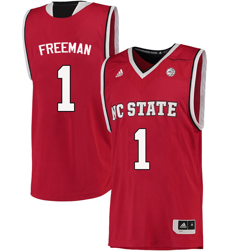 Men NC State Wolfpack #1 Lennard Freeman College Basketball Jerseys-Red