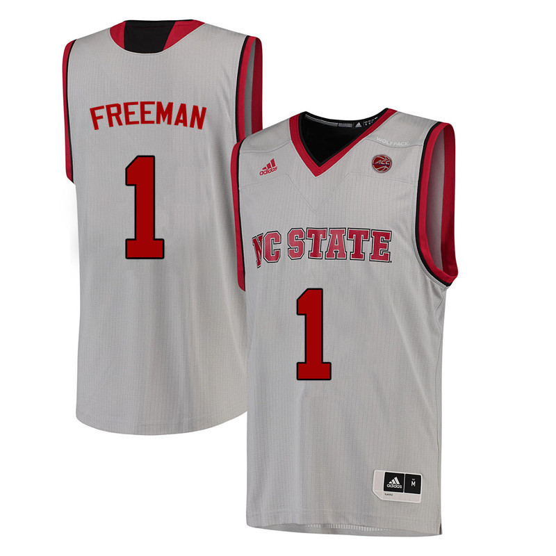 Men NC State Wolfpack #1 Lennard Freeman College Basketball Jerseys-White