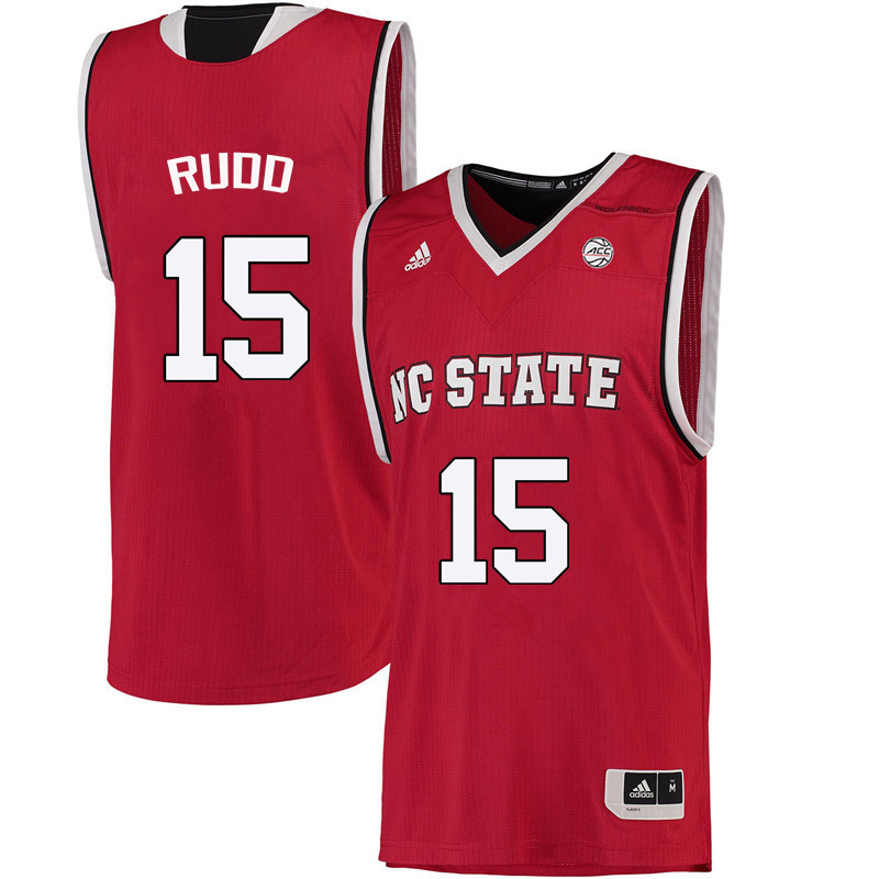 Men NC State Wolfpack #15 Lucky Rudd College Basketball Jerseys-Red