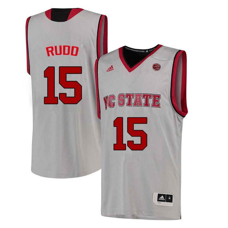 Men NC State Wolfpack #15 Lucky Rudd College Basketball Jerseys-White