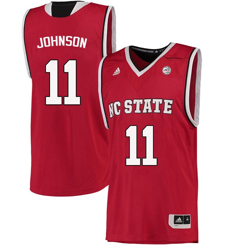 Men NC State Wolfpack #11 Markell Johnson College Basketball Jerseys-Red