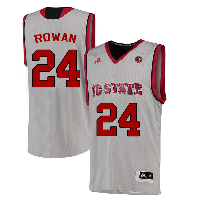 Men NC State Wolfpack #24 Maverick Rowan College Basketball Jerseys-White