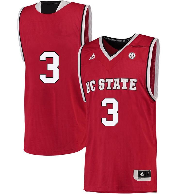 Men #3 Miah Spencer NC State Wolfpack College Basketball Jerseys-Red