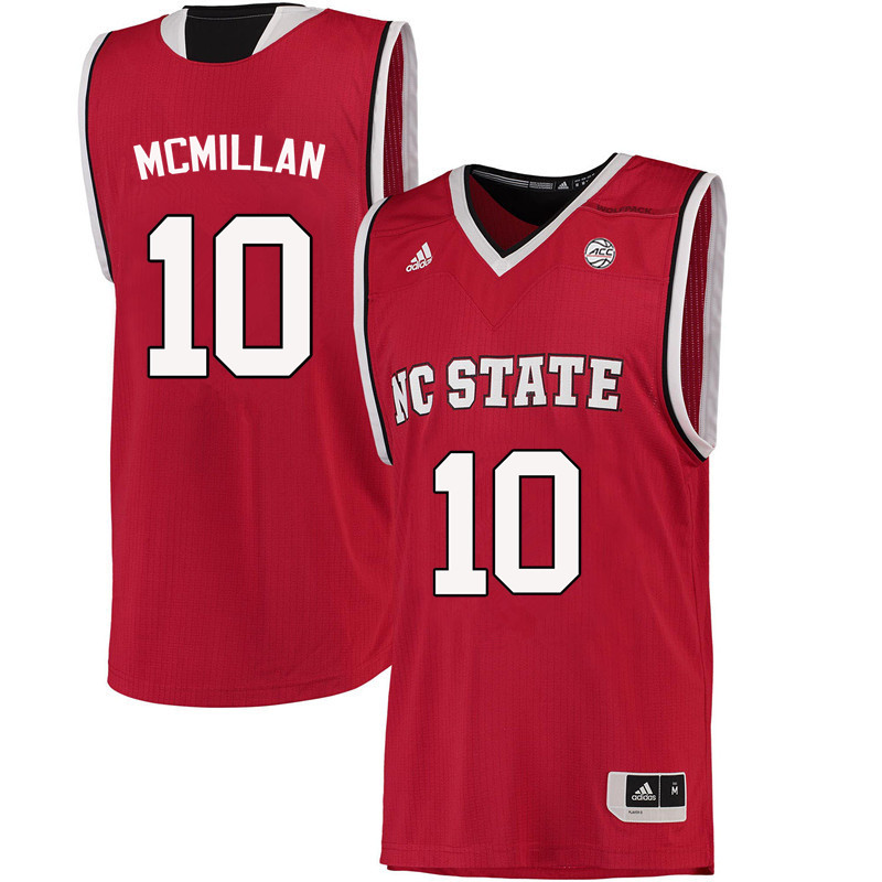 Men NC State Wolfpack #10 Nate McMillan College Basketball Jerseys-Red