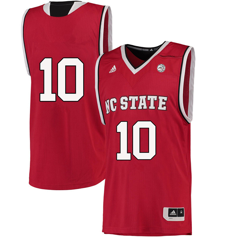 Men #10 Nate McMillan NC State Wolfpack College Basketball Jerseys-Red