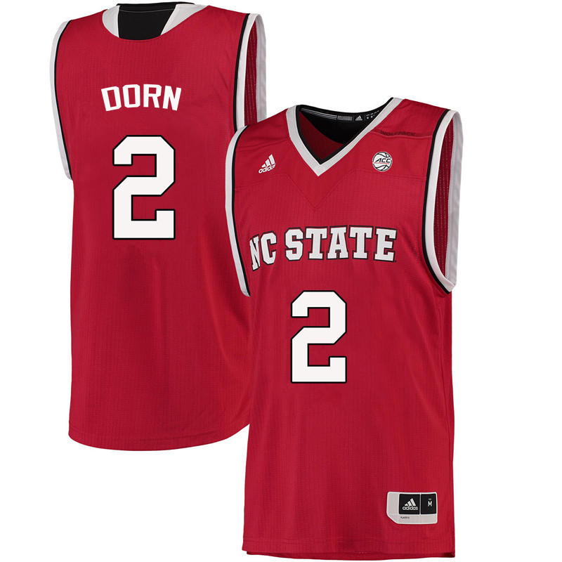 Men NC State Wolfpack #2 Torin Dorn College Basketball Jerseys-Red