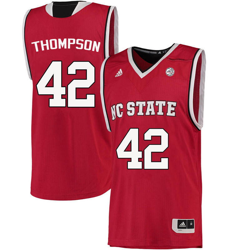 Men NC State Wolfpack #42 Tucker Thompson College Basketball Jerseys-Red