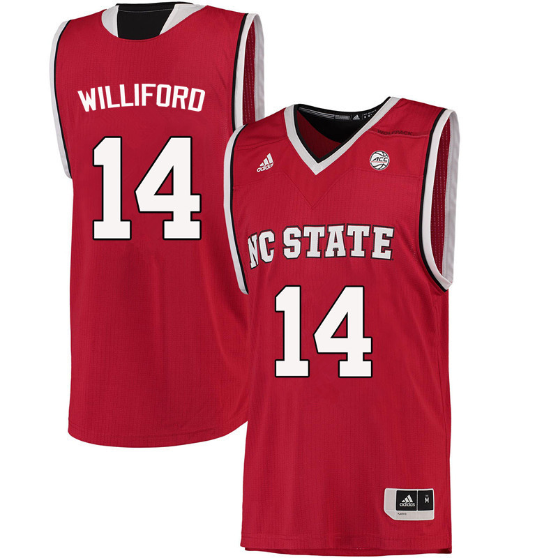 Men NC State Wolfpack #14 Vann Williford College Basketball Jerseys-Red