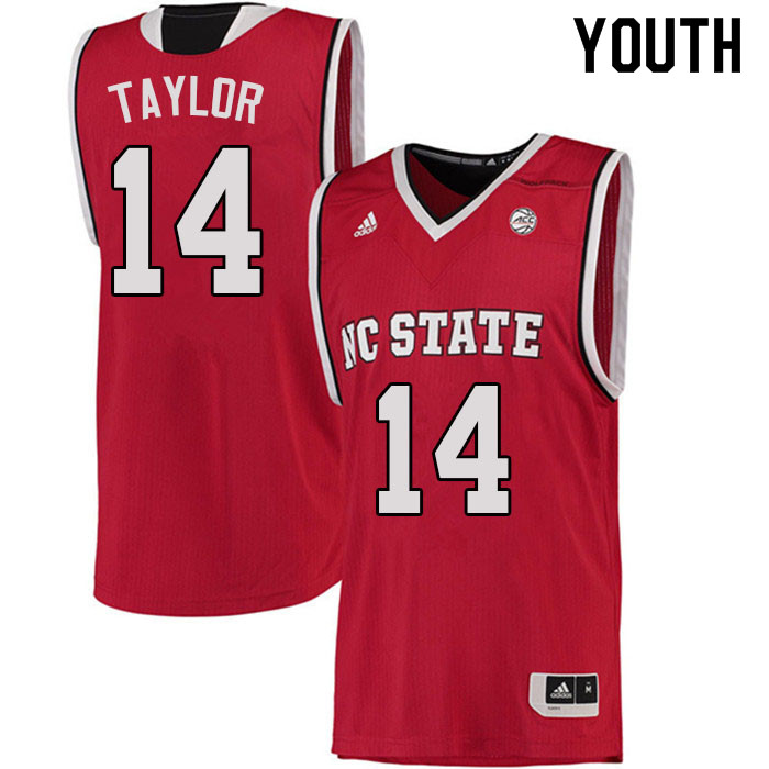 Youth #14 A.J. Taylor NC State Wolfpack College Basketball Jerseys Sale-Red