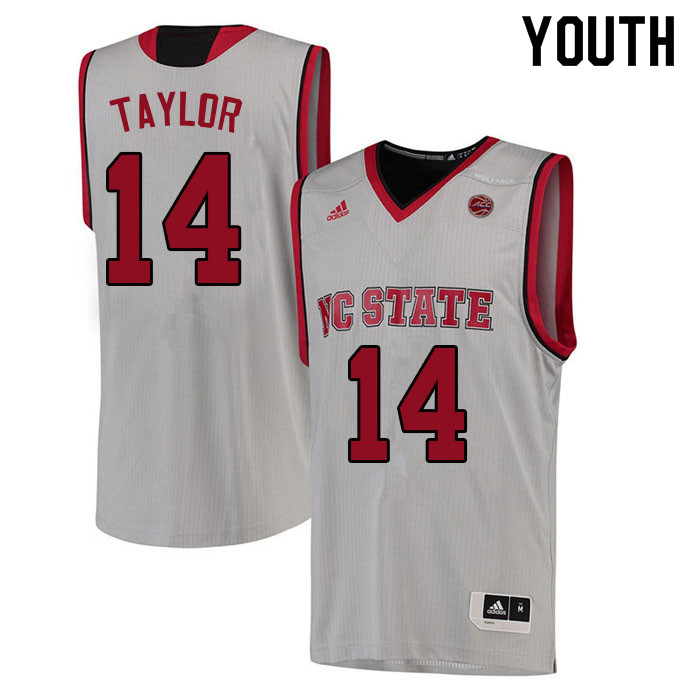 Youth #14 A.J. Taylor NC State Wolfpack College Basketball Jerseys Sale-White