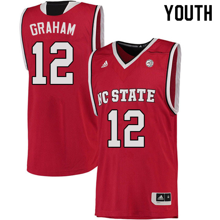 Youth #12 Chase Graham NC State Wolfpack College Basketball Jerseys Sale-Red